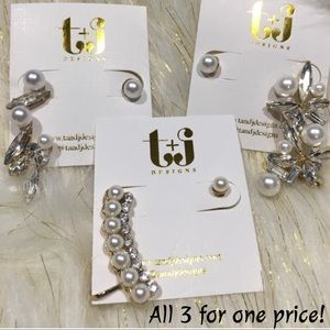 Crystal & Pearl Ear Cuff 3 pack